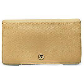 Chanel Beige Calfskin Leather CC Button Line Long Flap Wallet 863021