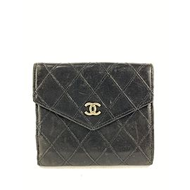 Chanel Black Lambskin Quilted Flap Wallet Compact Coin Purse 10cc519