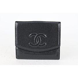 Chanel Black Caviar Leather CC Logo Coin Purse Compact Wallet 824cas46