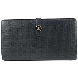 Chanel Black Calfskin Button Line CC Logo Long Flap Wallet 16CC719