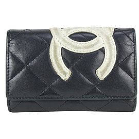 Chanel Black Quilted Cambon 4 Key Case Wallet Holder 818ca66