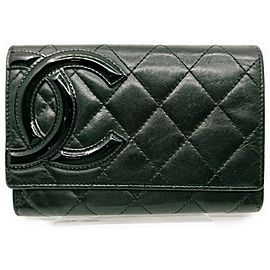 Chanel Black Quilted Lambskin Cambon Ligne Card Holder Flap Wallet 863012