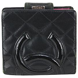 Chanel Black Cambon Quilted Leather Compact Wallet 827cas97
