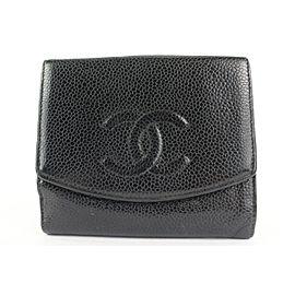 Chanel Black Caviar CC Logo Compact Wallet Coin Purse 67ccs126