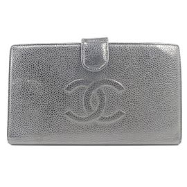 Chanel Black Caviar CC Logo Long Flap Snap Wallet 857205