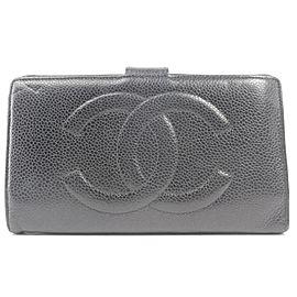 Chanel Black Caviar CC Logo Snap Long Flap Wallet 218558