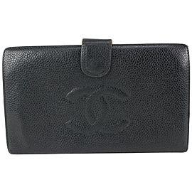 Chanel Black Caviar Leather CC Logo Long Bifold Wallet 820cas95