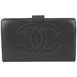 Chanel Black Caviar Leather CC Logo Long Flap Wallet 258cas720
