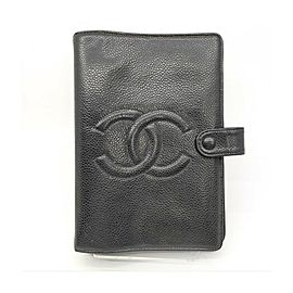 Chanel Black Caviar Leather Small Ring Agenda Diary Cover Notebook 863283