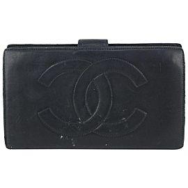Chanel Black Lambskin CC Logo Bifold Flap Wallet 819lv77