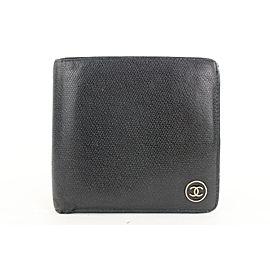 Chanel Black Leather CC Logo Button Line Bifold Wallet 9ccs111