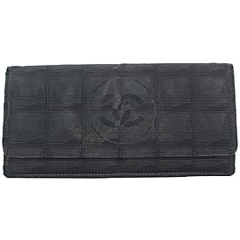 Chanel Black New Line Long Flap Wallet 71ccs126