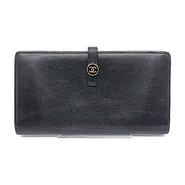 Chanel Black Leather Calfskin Button Line Flap Long Wallet 863404