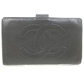 Chanel Black Caviar Logo CC Long Flap Wallet 862952