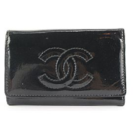 Chanel Black Patent CC Logo Key Holder Wallet Case 68ccs126