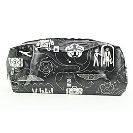 Chanel Black Limited Edition Cosmetic Pouch Toiletry Case Clutch 261cas512