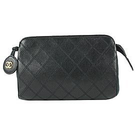 Chanel Black Quilted Lambskin Leather Cosmetic Pouch Make Up Clutch 649cas617