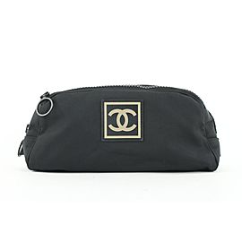 Chanel Black Sports CC Logo Toiletry Pouch Cosmetic Case Make Up Bag 388ca527