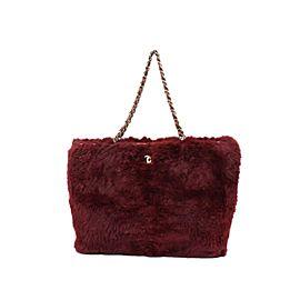 Chanel Bordeaux Lapin Rabbit Cc Chain Tote 234041 Burgundy Fur Shoulder Bag