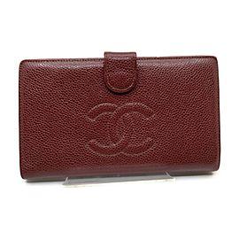 Chanel Bordeaux Caviar Leather CC Logo Long Flap Wallet 863410