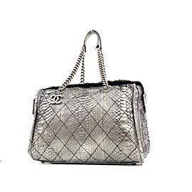 Chanel Bowling Bag (Ultra Rare) Metallic Chain Bowler 234207 Silver Python Satchel