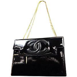 Chanel Boy Fancy Chain Brick Cc Logo Flap 235418 Black Patent Leather Shoulder Bag