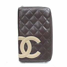 Chanel Brown Zippy Organizer Cambon Quilted Ligne 870997 Wallet