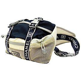 Chanel Bum Cc Sports Fanny Pack Waist Pouch Sports 239579 Navy X Off-white X Gray Nylon Mesh Weekend/Travel Bag