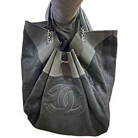 Chanel Cabas Stretch Spirit Extra Large 11ca61 Black Suede Leather Hobo Bag
