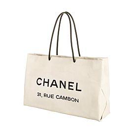 Chanel Cambon Essential 224734 White X Black Leather Tote