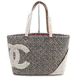 Chanel Cambon Ligne Cc Logo Shopper 872698 Grey Tweed Tote