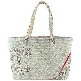 Chanel Cambon Quilted Ligne Tote 230864 Grey Tweed Shoulder Bag