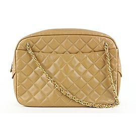 Chanel Light Brown Tan Quilted Leather Camera Bag 945cas416