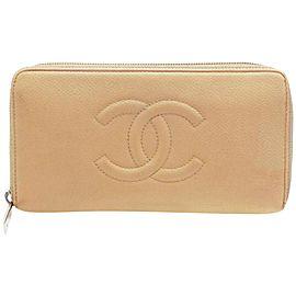 Chanel Beige Caviar Leather Zip Around Wallet Long Zippy L-Gusset 234262