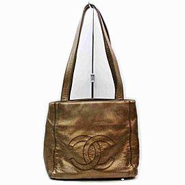 Chanel Cc Logo 860079 Bronze Leather Tote