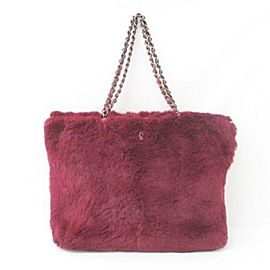 Chanel Chain 865809 Red Rabbit Fur Tote