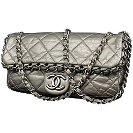 Chanel Chain Around Flap 227432 Silver Quilted Leather Shoulder Bag