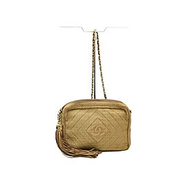 Chanel Light Brown Tassel Chevron Diamond Quilted Camera Chain Bag 863212