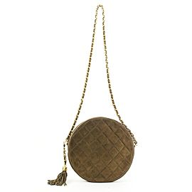 Chanel Brown Quilted Suede Fringe Tassle Round Clutch with Chain Bag 16ccs120