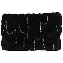 Chanel Black Rabbit Fur Chain Drip Clutch 858748