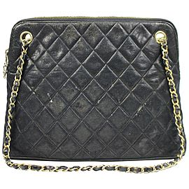 Chanel Chain Quilted Ccty47 Black Lambskin Leather Shoulder Bag
