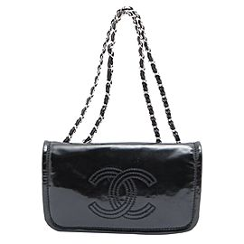 Chanel Black x SIlver Patent CC Logo Chain Flap Chain Bag 644cks317