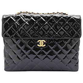 Chanel XL Maxi Black Quilted Patent Single Flap Chain Bag 92ca66