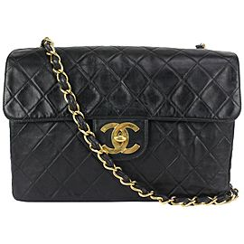 Chanel XL Black Quilted Lambskin Classic Single Flap Gold Chain Bag 144c729
