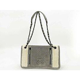Chanel Classic 872183 Sheepskin Mouton Chain Flap Grey Shearling Wool Cross Body Bag