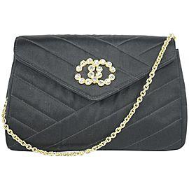 Chanel Classic Crossbody Crystal Cc Mini Flap 11ck1219 Black Satin Shoulder Bag