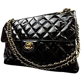 Chanel Classic Double Jumbo Quilted Flap 223006 Black Patent Leather Shoulder Bag