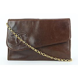 Chanel Dark Brown Diagonal Flap Chain Bag 954cas416