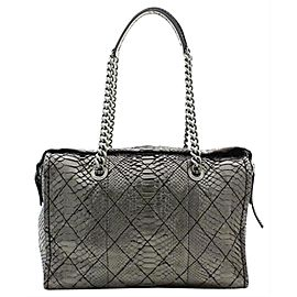 Chanel Classic Flap Camera ( Only One 216248 Metallic Silver Python Skin Leather Weekend/Travel Bag