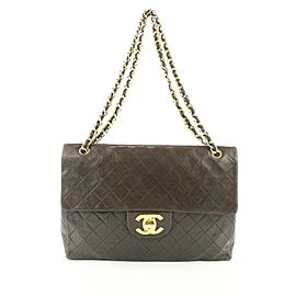 Chanel XL Quilted Dark Brown Maxi Classic Flap Gold Chain Bag 685Cas318